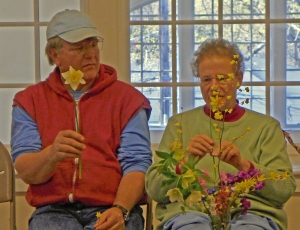 Marty Schaefer and Jan Sacks with samples of the blooms in their garden last weekend